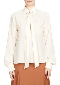 Chloé Silk Tie-Neck Blouse