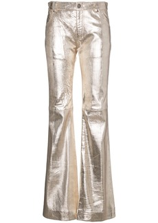 Chloé Silver Metallic Leather Trousers