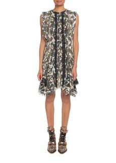 Chloé Sleeveless Paisley-Print Silk A-Line Dress w/ Lace Trim