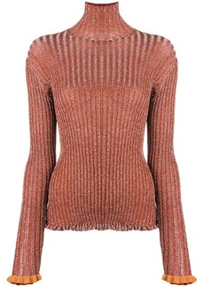 Chloé slim-fitted frilled turtleneck