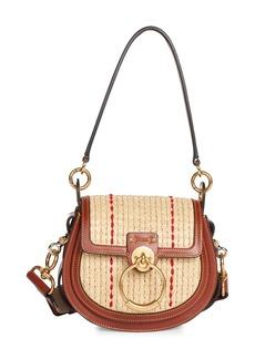 Chloé Small Tess Raffia & Leather Saddle Bag