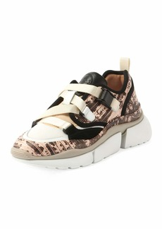 Chloé Sonnie Embossed Leather Buckle Sneakers