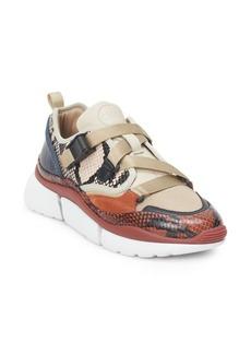 Chloé Sonnie Snake-Print Sneakers