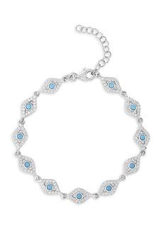 Chloé Sterling Silver & Cubic Zirconia Evil Eye Station Bracelet