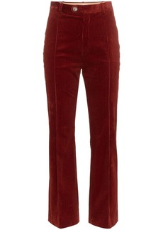 Chloé straight pleated corduroy cotton blend trousers