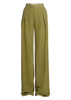 Chloé Straight Pleated Silk Georgette Pants