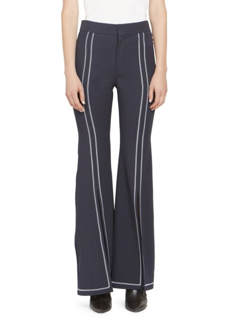 Chloé Stretch Wool Gab Front Slit Trousers