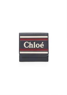 Chloé Striped Leather Logo Card Wallet