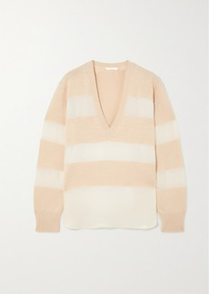 Chloé Striped Organza-trimmed Wool, Silk And Cashmere-blend Sweater