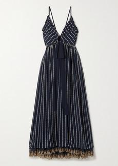 Chloé Striped Silk-blend Mousseline Maxi Dress