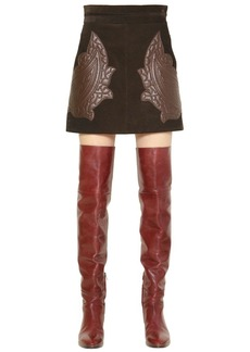 Chloé Suede Skirt W/ Quilted Leather Patches
