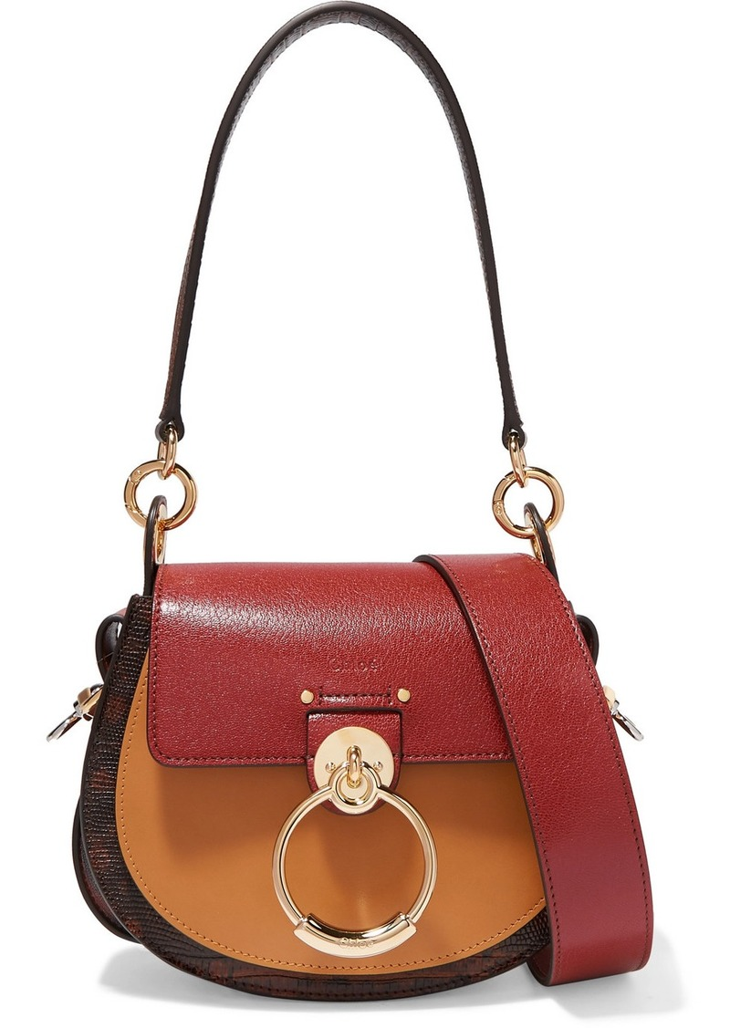 Chloé Tess Small Color-block Smooth And Lizard-effect Leather Shoulder Bag