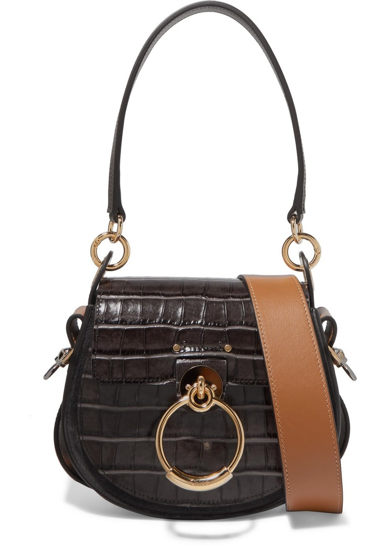 c766c142e437 Chloé Tess Small Croc-effect Leather And Suede Shoulder Bag