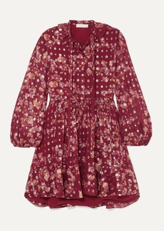 Chloé Tie-neck Ruffled Floral-print Fil Coupé Silk-chiffon Mini Dress