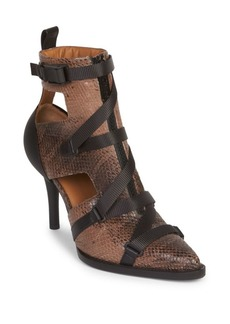 Chloé Tracy Buckle Watersnake Print Leather Ankle Boots