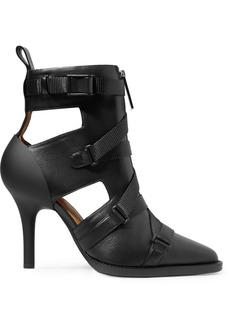 Chloé Tracy Rubber And Canvas-trimmed Leather Ankle Boots