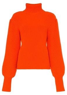 Chloé turtleneck ribbed wool cashmere blend jumper