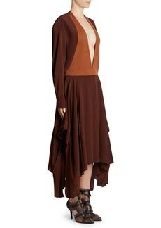 Chloé Two-Tone Deep V-Neck Long-Sleeve Midi Dress