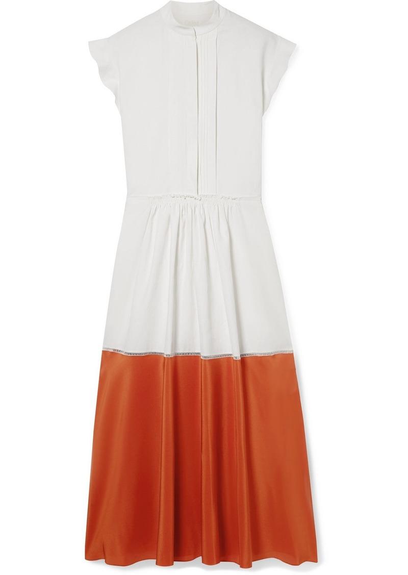 Chloé Two-tone Pleated Linen And Silk Crepe De Chine Midi Dress