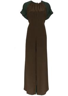Chloé Two-tone split leg silk jumpsuit