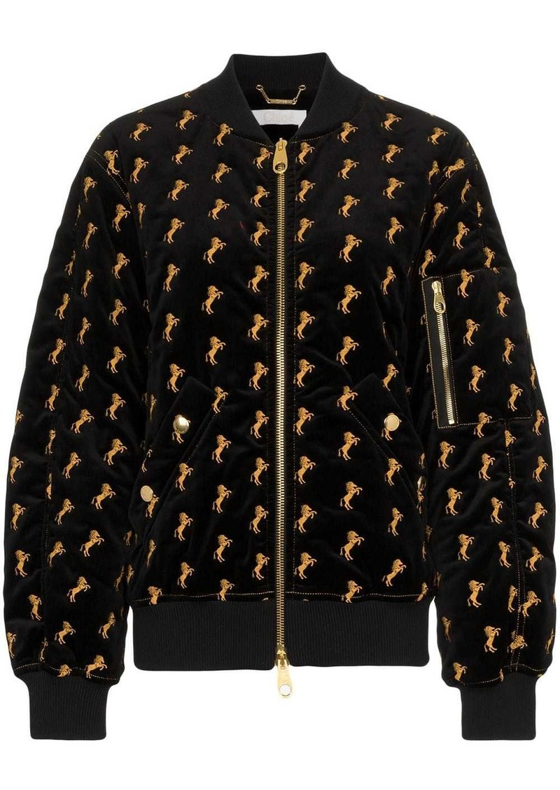 Chloé Velvet Bomber Jacket