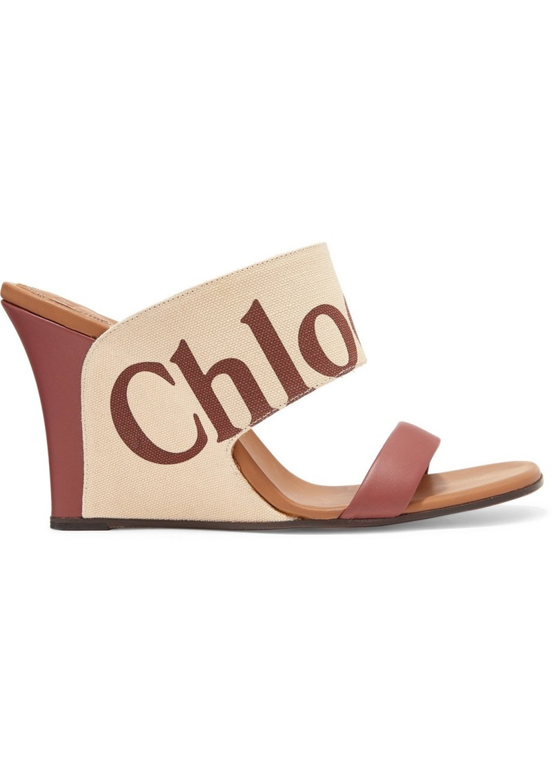 Verena Logo-print Canvas And Leather Wedge Sandals