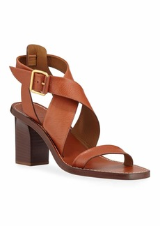 Chloé Virginia Strappy Leather Block-Heel Sandals