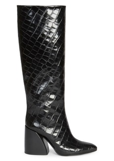 Chloé Wave Croc-Embossed Leather Tall Boots