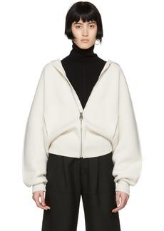 Chloé White Cashmere Knit Chunky Hoodie