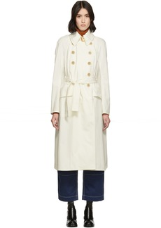 Chloé White Cotton Panama Trench Coat