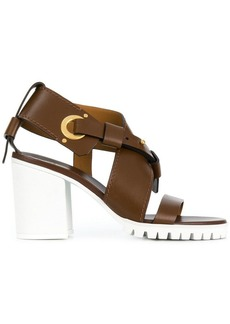 Chloé white sole strappy mid-heel sandals