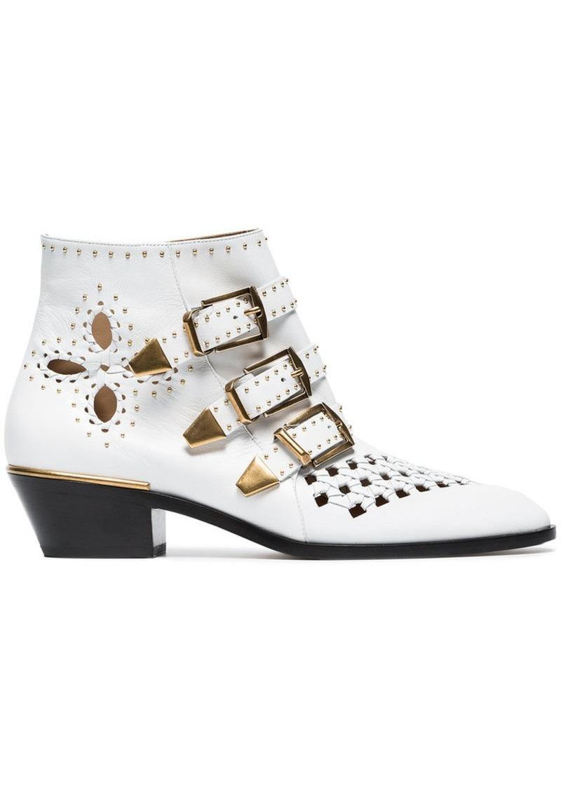 Chloé white Susanna 30 studded leather boots