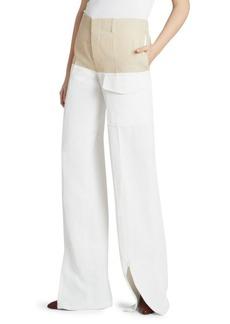 Chloé Wide-Leg Linen Combo Pants