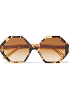Chloé Willow Hexagon-frame Tortoiseshell Acetate Sunglasses