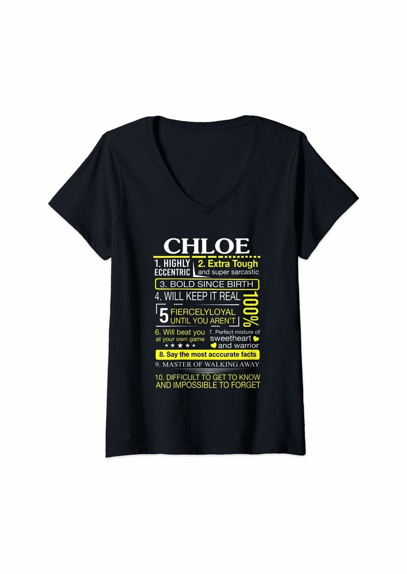 Chloé Womens CHLOE Highly Eccentric 10 Facts First Name Tee V-Neck T-Shirt