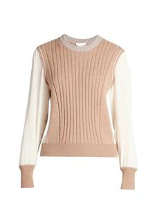 Chloé Wool & Silk Georgette Mixed Media Sweater