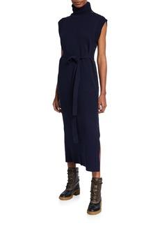 Chloé Wool-Cashmere Turtleneck Belted Midi Dress