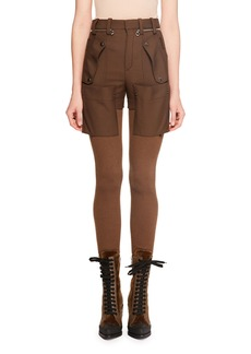 Chloé Wool Gabardine w/ Bi-Fabric Knit Legging Pants