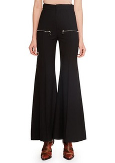 Chloé Zip-Detail Stretch-Wool Flared Pants