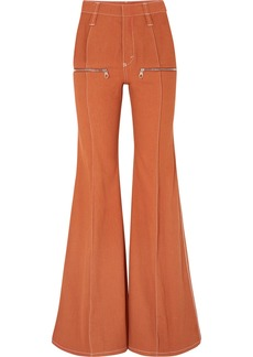 Chloé Zip-embellished High-rise Flared Jeans