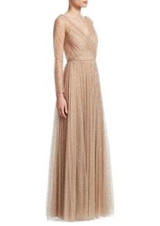 Christian Dior Allover Sequins Long-Sleeve V-Neck Gown