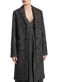 Christian Dior Boucle Single-Breasted Wool-Blend Coat
