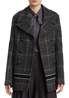 Christian Dior Check Wool Logo Peacoat