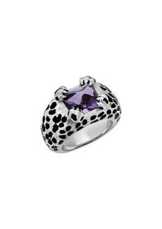 Christian Dior 18k Amethyst & Onyx Animal-Pattern Ring