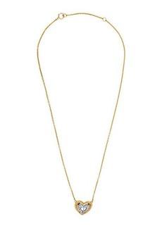 Christian Dior 18K Two-Tone Pave Diamond Heart Pendant Necklace