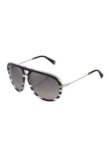 Christian Dior Dior Aviator Striped Plastic/Metal Sunglasses