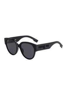 Christian Dior Dior DiorID2 Round Acetate Sunglasses w/ Logo Arms