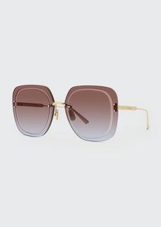 Christian Dior Dior Oversized Rimless Square Metal Sunglasses