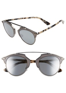 Dior So Real 48mm Round Brow Bar Sunglasses