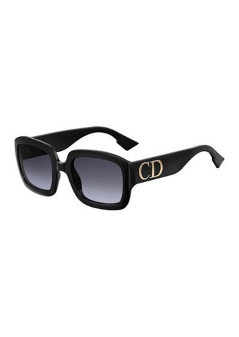 Christian Dior Dior Square Sunglasses w/ Oversized Logo Temples